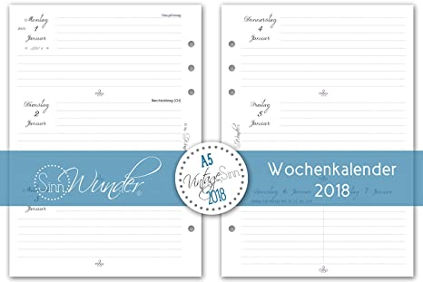 SinnWunder Calendario EINLAGEN 2018, A5, varios diseños ...