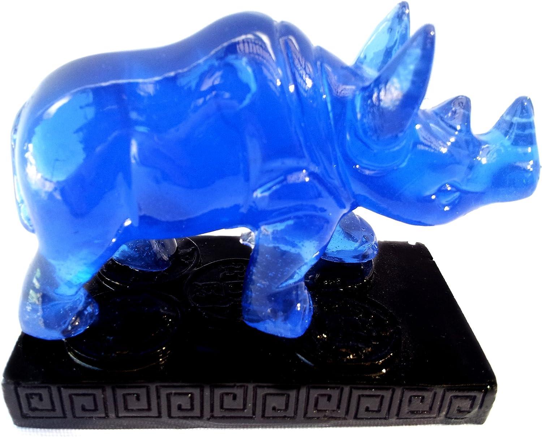 Betterdecor Feng Shui Blue Double Horns Rhinocero Home Office Statue Figurine Gift- Anti Burglary