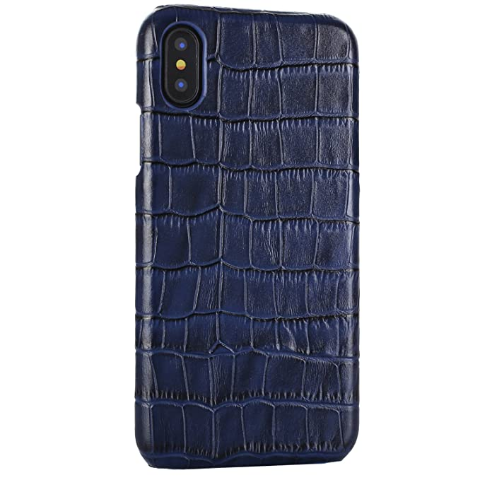 finest selection f6f0f 284bf iPhone X/XS Genuine Leather (Crocodile Texture) Case Cover Real Leather  Alligator Skin Texture[Ultra Slim Handmade] Back Cover for iPhone X/XS  5.8inch ...