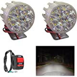 A2D 9 LED Small Round Auxiliary Bike Fog Lamp Light Assembly White Set of 2 with Switch-Hero Passion Plus