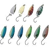 【オルルド釣具】10個セット マイクロスプーン 3g 3.0cm/4個(4色) & 3g 2.8cm/6個(6色) 管釣り・渓流に最適 便利なスプーン用ミニタックルケース付 管理釣り場でのルアーフィッシングに! OrurudoスプーンセットC qb100082a01n0
