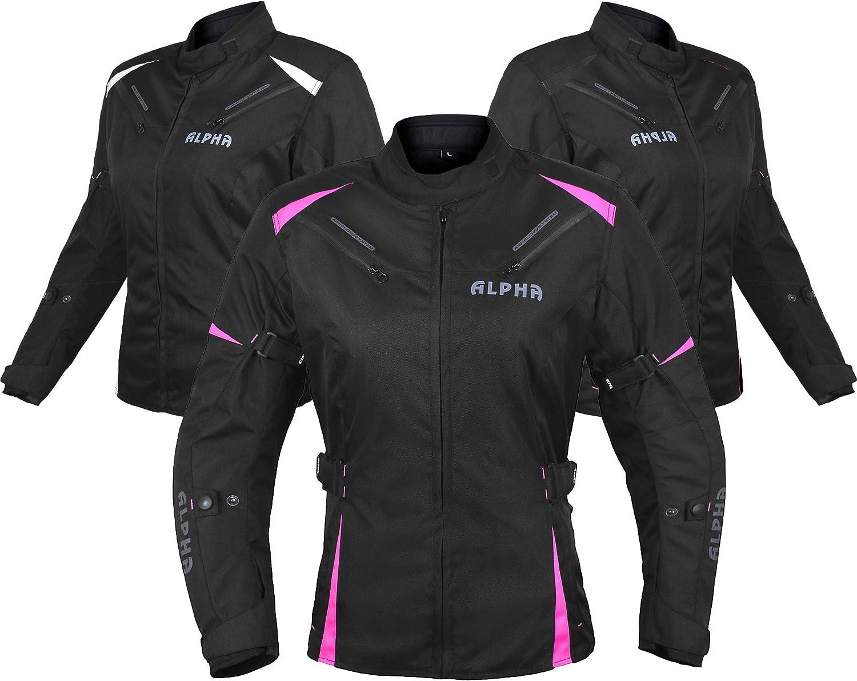 Motorcycle Ladies Waterproof Jacket Motorbike Women Armored Textile Cordura Coat Pink With Black X-Small