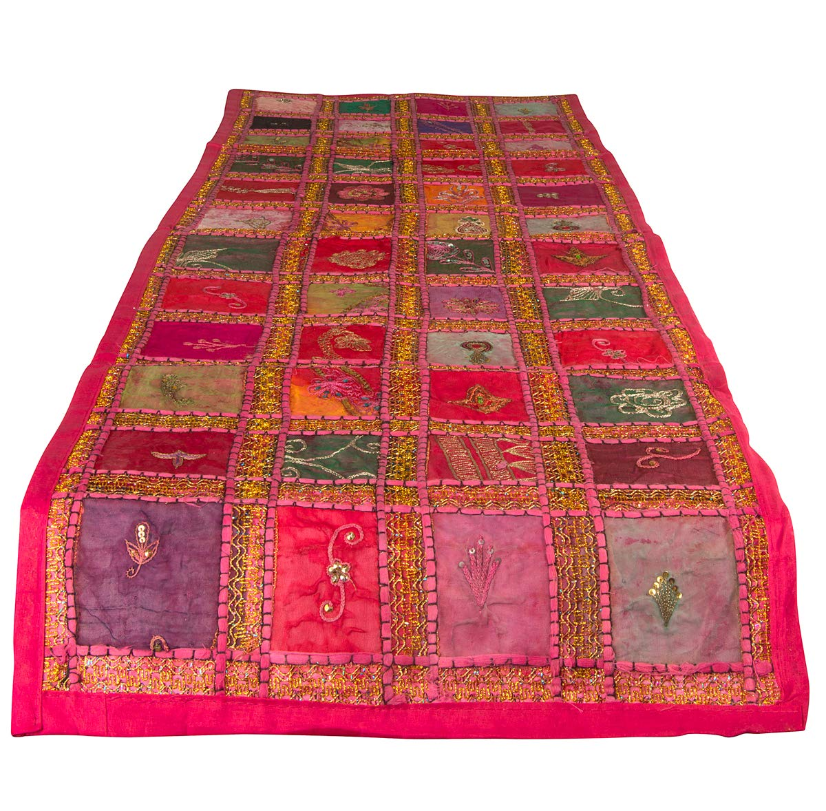 """Tribe Azure Fair Trade Pink Table Runner Cotton 18"""" x 58"""" Handmade Embroidered Boho Bohemian Colorful Patchwork Indian Decoration Reception Party Wedding Decor Tapestry"""