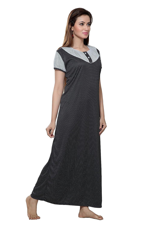 20d4bec153 TUCUTE Women Beautiful Dotted   Line Print Nighty Night Gown Night Dress Nightwear  (Black) 1609  Amazon.in  Clothing   Accessories