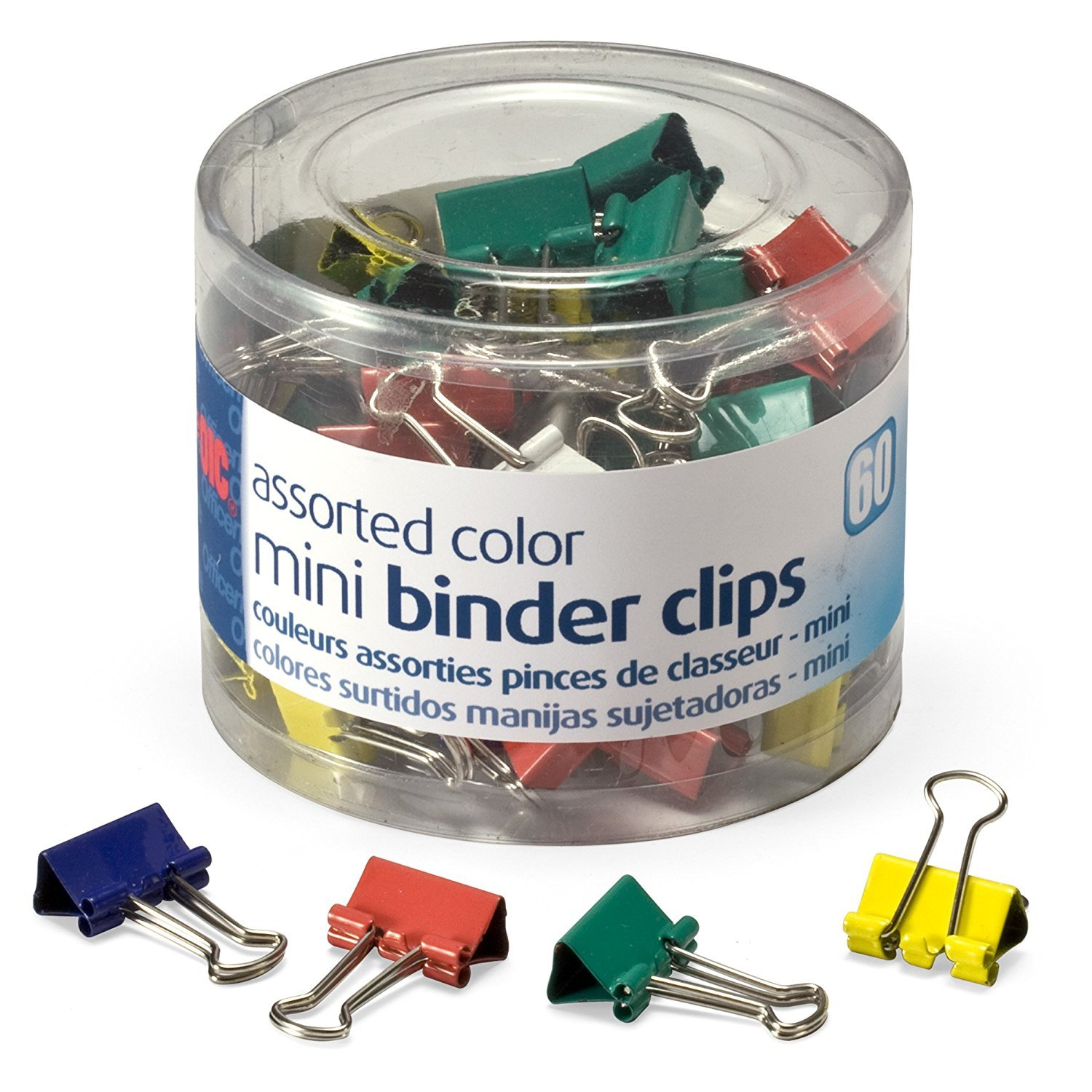 Amazon.com : Officemate OIC Mini Binder Clips, Assorted Colors, 60 Clips per Tub (31024) PACK OF 3 (180 Clips Total) : Office Products