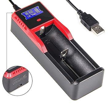 UltrsFire Cargador de baterías Con pantalla LCD Para Baterías Ni-MH AA y AAA, Li-ion / IMR / INR / INR / ICR / LiFePO4: 26650, 22650, 18650, 18490, ...