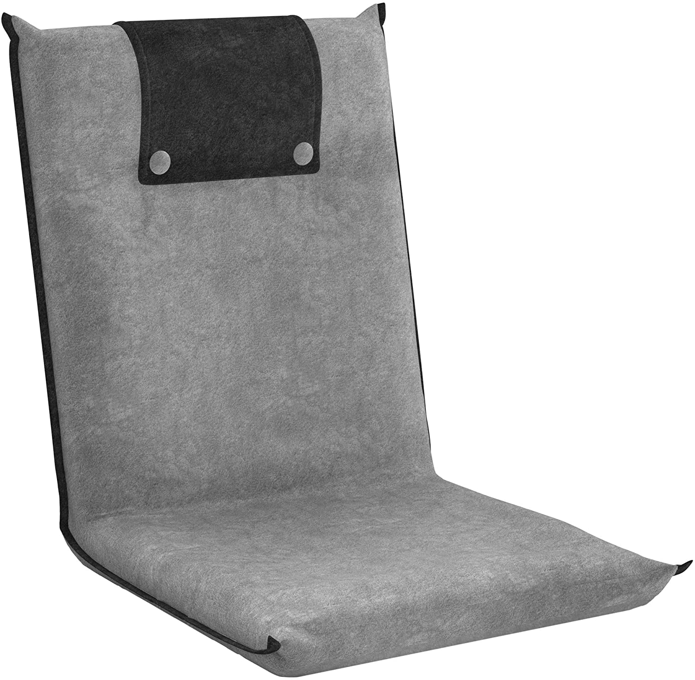 bonVIVO Padded Floor Chair - Easy II Floor Seating for Adults w/Adjustable Backrest, Light Grey