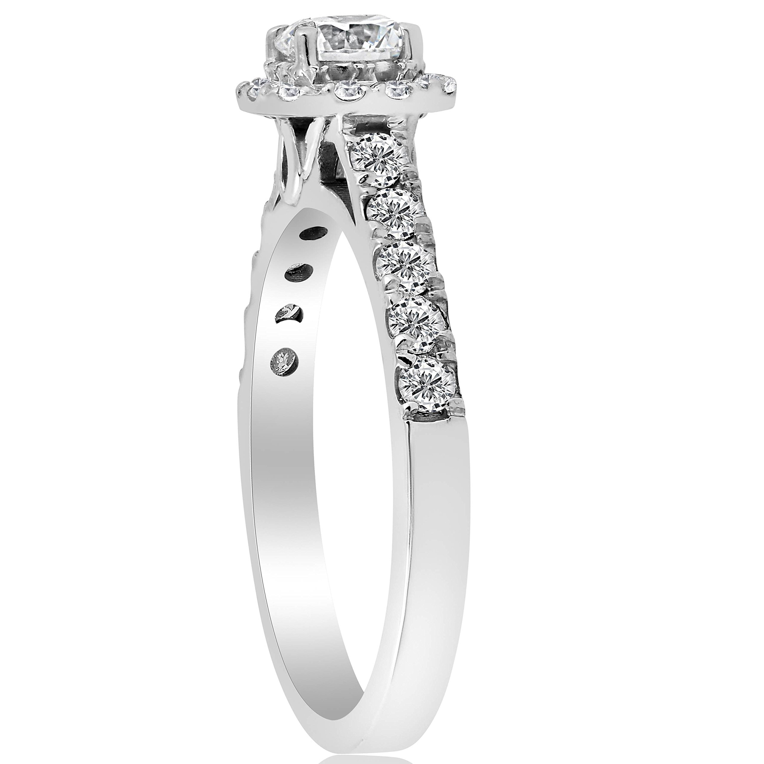 1ct Cushion Halo Diamond Engagement Ring 14K White Gold - Size 4 by P3 POMPEII3 (Image #3)