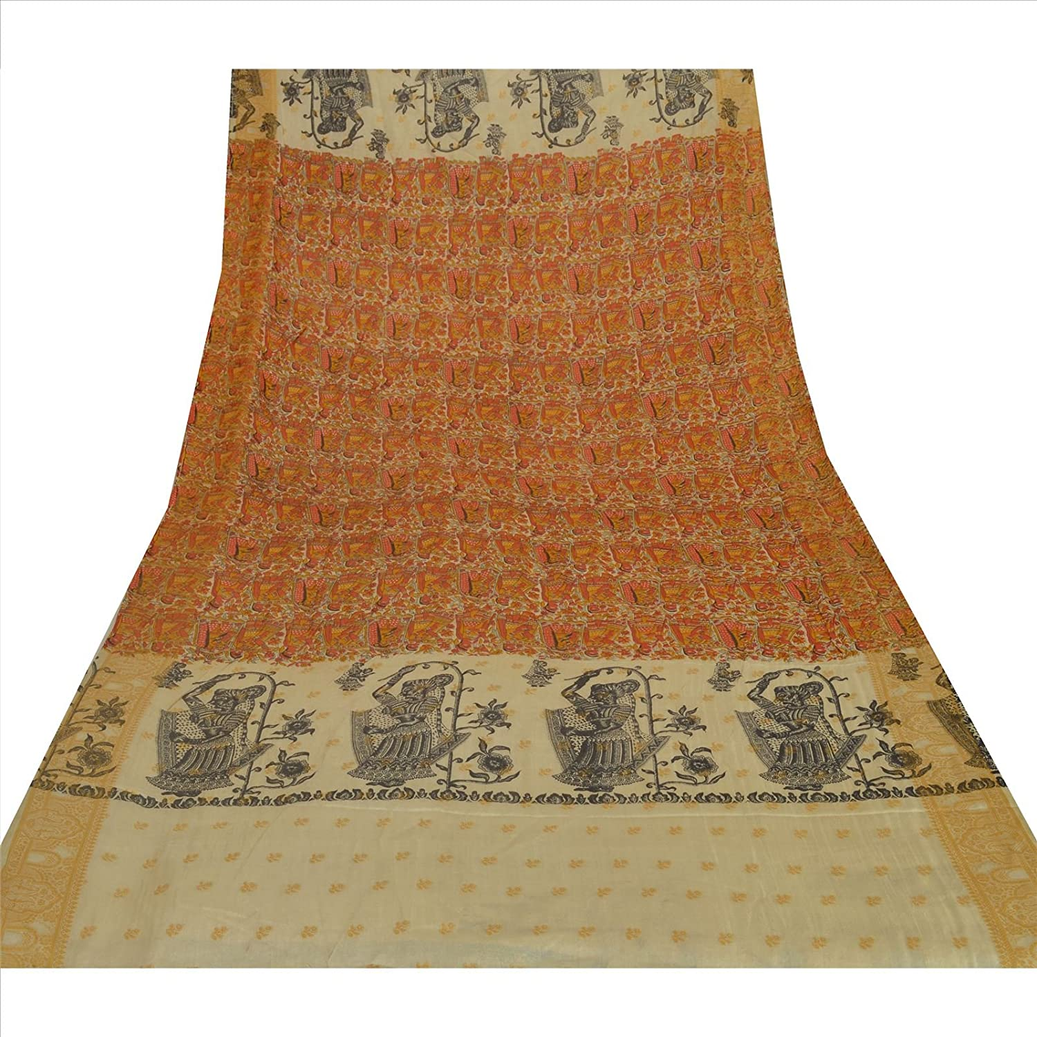 100% Pure Tussar Silk New Long Stole Dupatta Cream Printed With Weaving Border