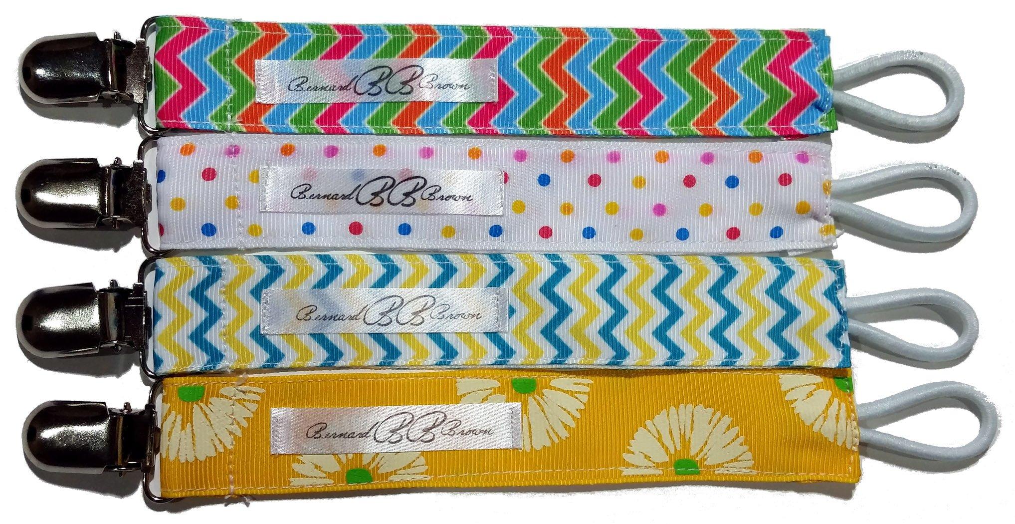 4 Pack Pacifier Clip Leash Teething Ring Holder By Bernard Brown Great Baby Shower Gift - Unisex Colors by Bernard Brown