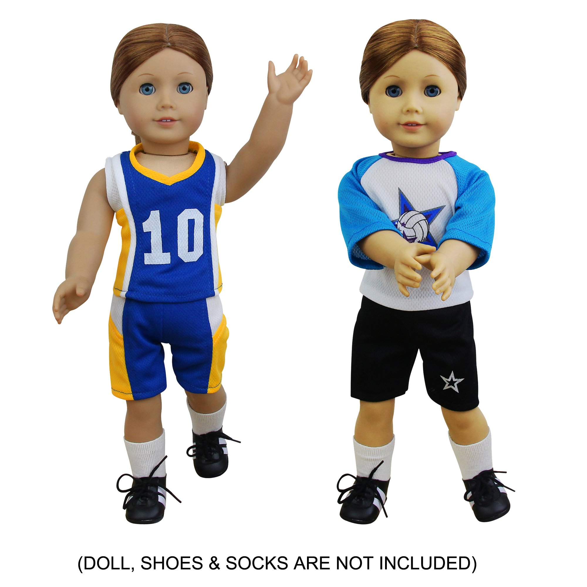 4 PCS American Girl Doll Sports Clothes & Accessories   Soccer, Basketball, Football, Volleyball Kit Equipment for 18'' Doll by ZITA ELEMENT