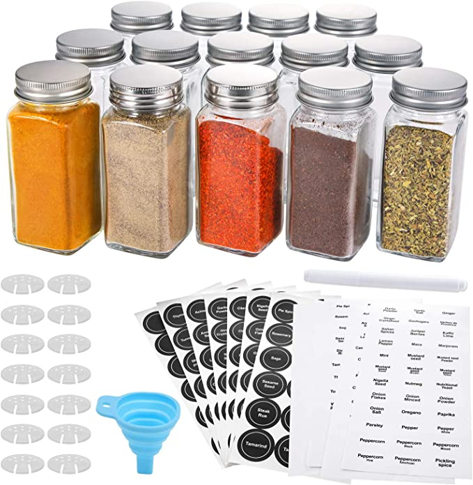 4oz Empty Square Spice Containers with Aozita 24 Pcs Glass Spice Jars//Bottles