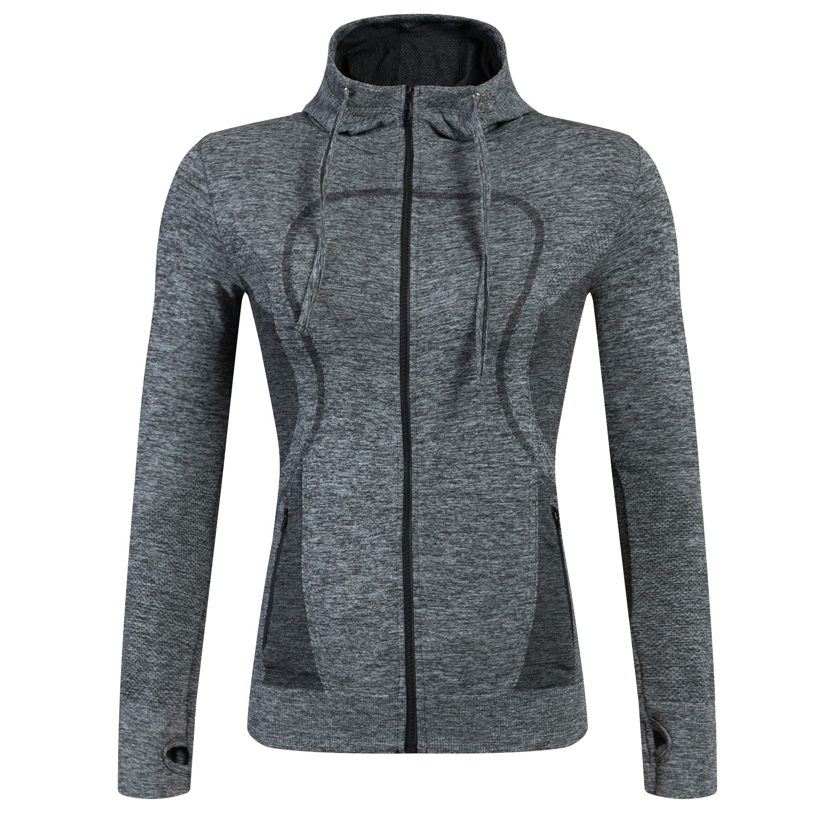 AMZSPORT Womens Running Jacket Long Sleeve Sports Gym Hoodies Yoga Fitness Top with Pockets