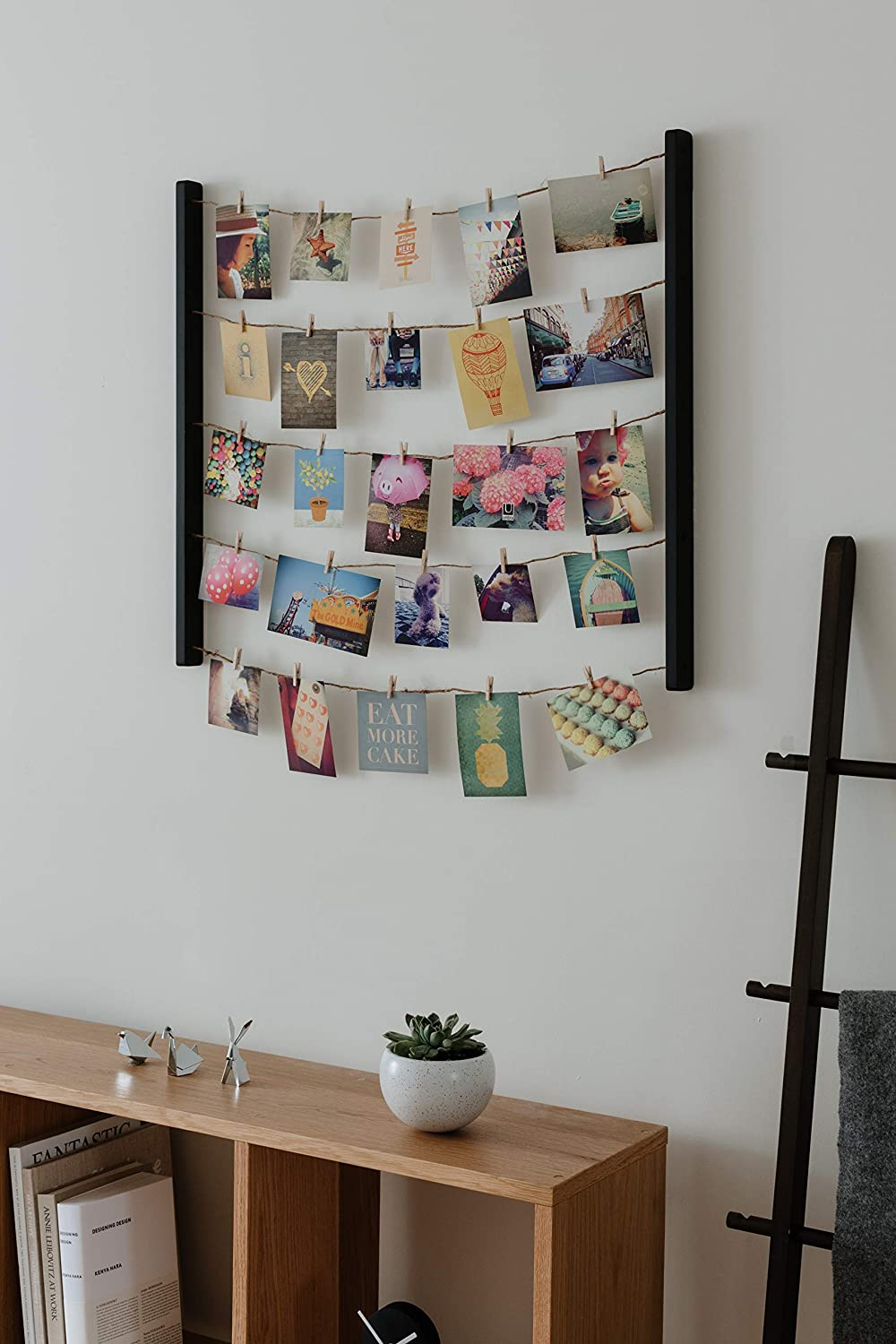 Amazon Com Umbra Hangit Display Diy Frames Collage Set Includes Picture Wire Twine Cords Wall Mounts And Clothespin Clips For Hanging Photos Prints And Artwork 26 X 30 Black Home Kitchen
