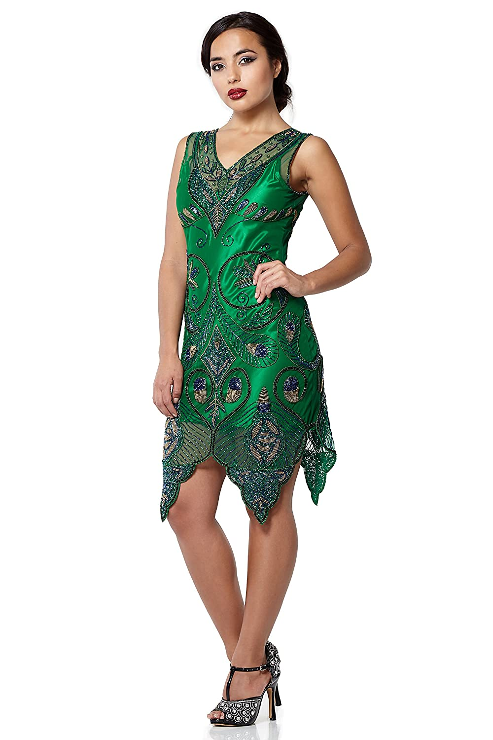 1930s Style Fashion Dresses Emma Vintage Inspired Flapper Dress in Green $130.79 AT vintagedancer.com