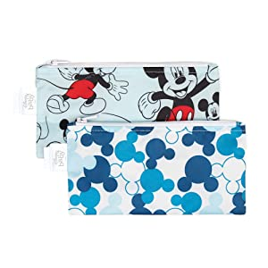 Bumkins Snack Bags, Reusable, Disney Washable, Food Safe, BPA Free, 2-Pack – Mickey Mouse