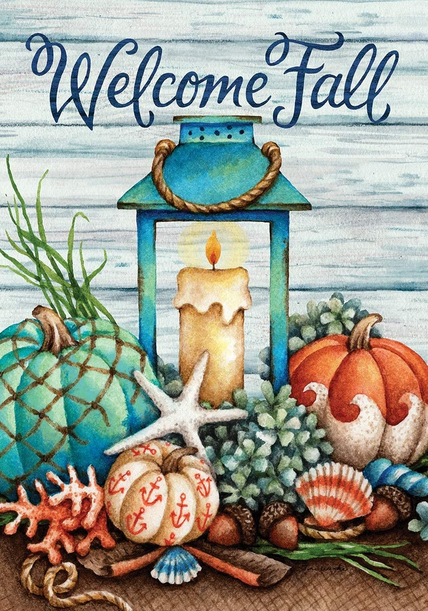 Custom Decor Coastal Fall - Welcome - Garden Size, Decorative Double Sided, Licensed and Copyrighted Flag - Printed in The USA Inc. - 12 Inch X 18 Inch Approx. Size