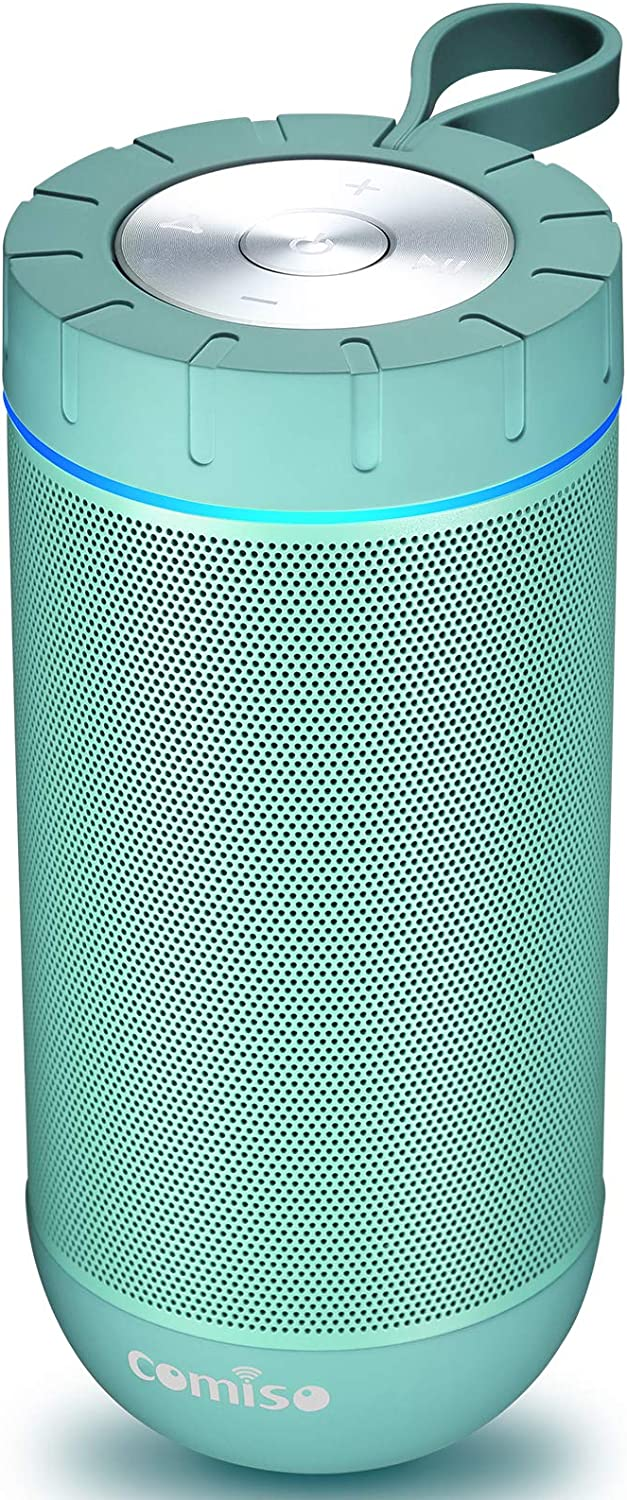 COMISO Bluetooth Speaker with 360 Surround Sound, 24 Hour Playtime, 66ft Bluetooth Range, IPX5 Water Resistance Dual-Driver Wireless Speaker for iPhone, Samsung (Mint)