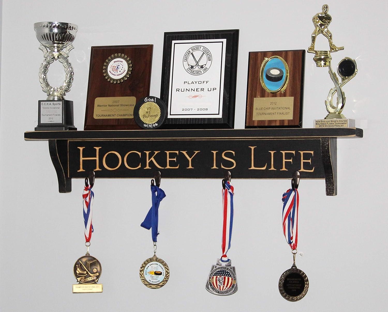 Hockey is Life Hockey Trophy Photo Display Shelf