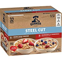 32-Count Quaker Steel Cut Quick 3-Minute Oatmeal 2 Flavor Variety Pack