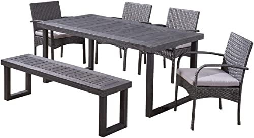 Great Deal Furniture Marguerite Baker Outdoor 6-Seater Aluminum Dining Set