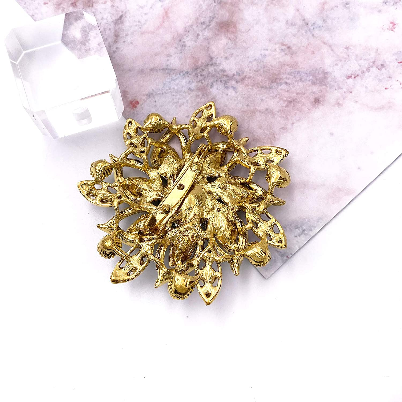 LAXPICOL Vintage Womens Austrian Crystal Elegant Flower Brooch Wedding Broach Pin