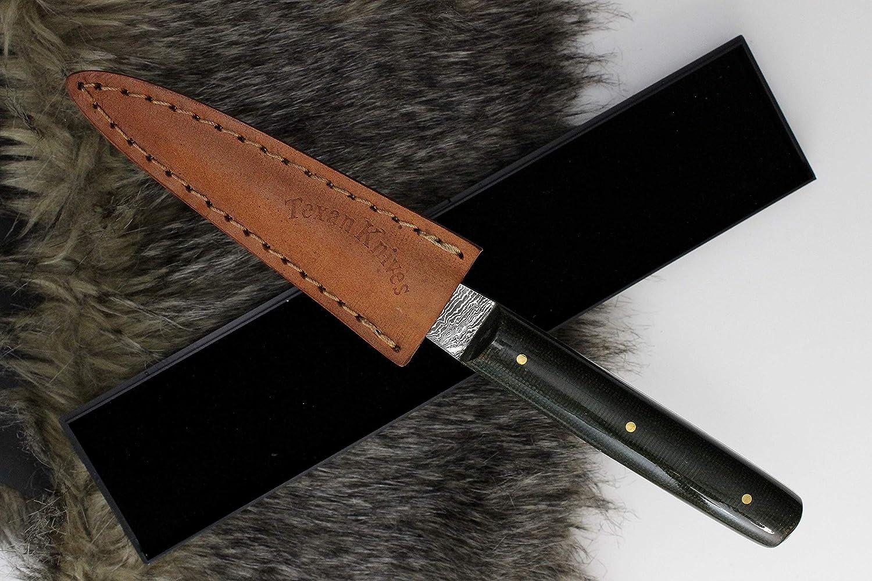 con manico verde Mircarta Tagliacarte fatto a mano in acciaio damasco 20,3 cm