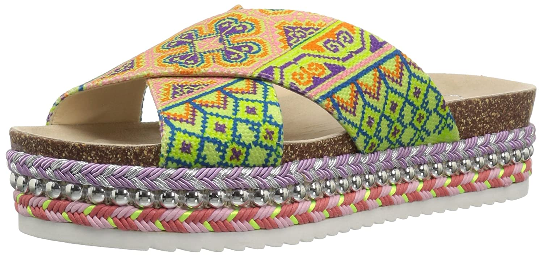 Jessica Simpson Women's Shanny Slide Sandal B07BF3H3Y9 7.5 B(M) US|Citron Multi