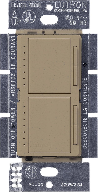 Lutron MA-L3L3-MS Maestro 300 Watt (top)/300 Watt (bottom) Single Pole Dual Dimmer, Mocha stone [並行輸入品] B0016P0B20 Mocha Stone Mocha Stone