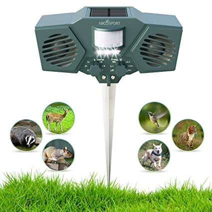 Ultrasonic Solar Animal & Pest Repeller - With 30' Motion Sensor, Flashing  LED Light - Pest Control For Raccoon, Cats, Dogs, Deer, Birds - Weather