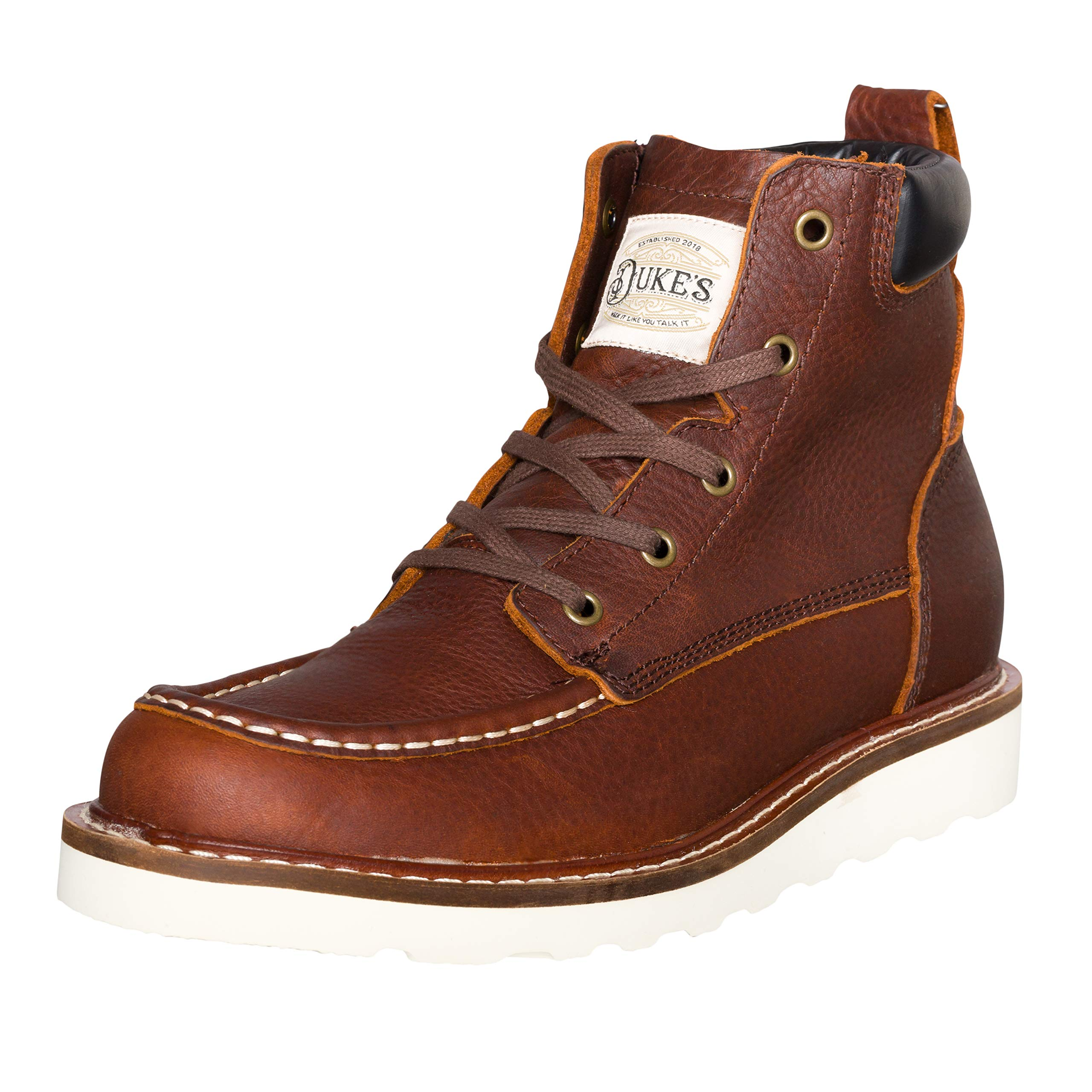 Duke's Mens Boots - Portland Leather Work Boot with Premium Cushion Insole (Cognac)