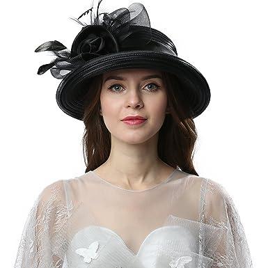 81fe616203 Janey Rubbins Women Kentucky Derby Church Wedding Fascinators Cloche Bucket Bowler  Hat (Black)
