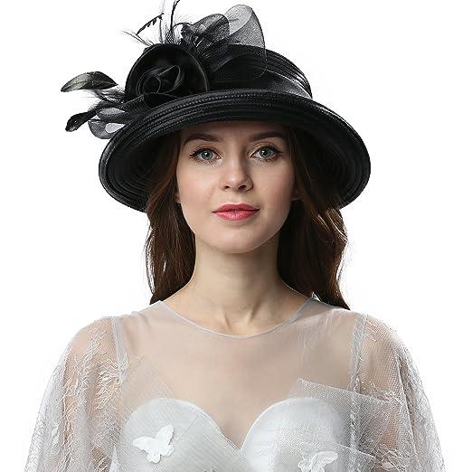 f471b574c97 Janey Rubbins Women Kentucky Derby Church Wedding Fascinators Cloche Bucket  Bowler Hat (Black)