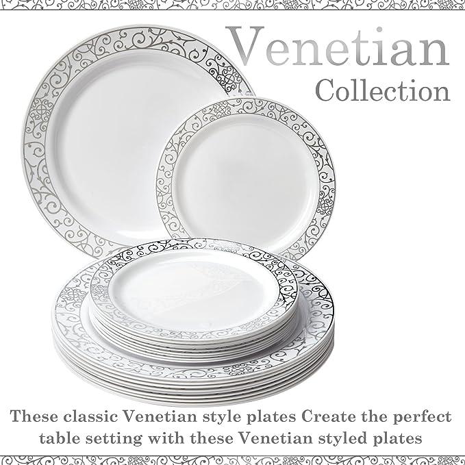 VAJILLA PARA FIESTAS DESECHABLE DE 40 PIEZAS | 20 platos grandes | 20 platos para ensalada/postre | Platos de plástico resistente | Para bodas y comidas de ...