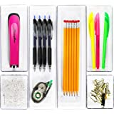Simple Houseware 6 Pack Clear Plastic Desk Drawer Organizers