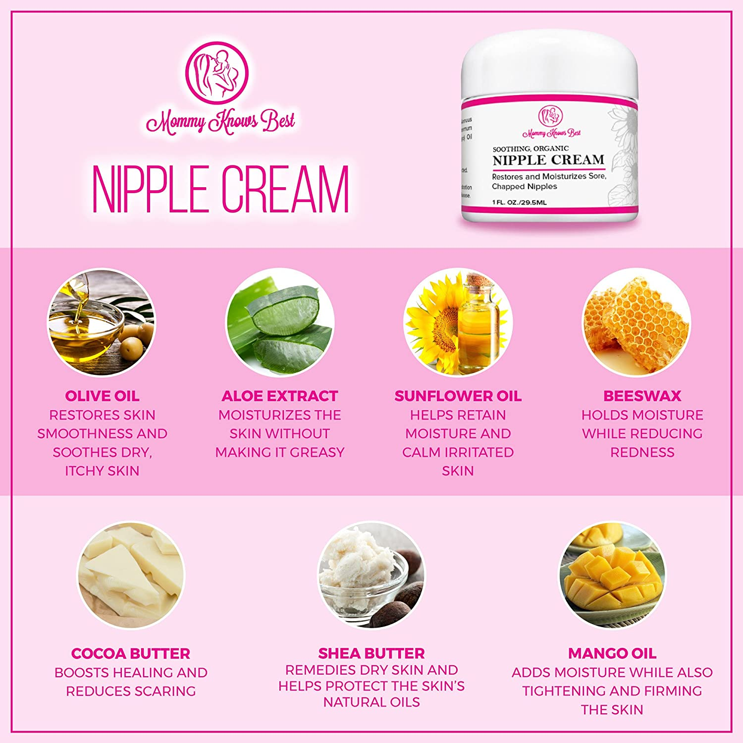 Amazon.com: Nipplecreams for Breastfeeding - Soothing All Natural Organic  Nipple Cream for Nursing Mothers - Restores and Moisturizes Sore, Chapped  Breasts ...