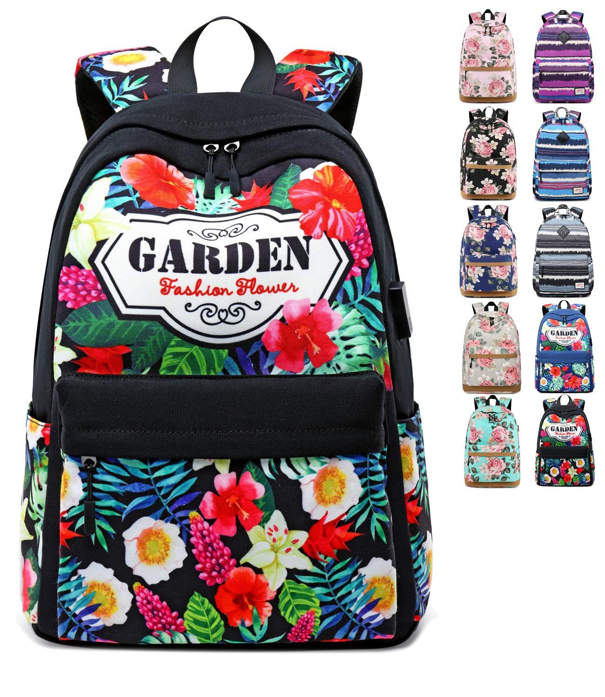 Onyorhan School Bags for Girls Backpack College Student Rucksack USB Women Ladies Daypack (1001black)