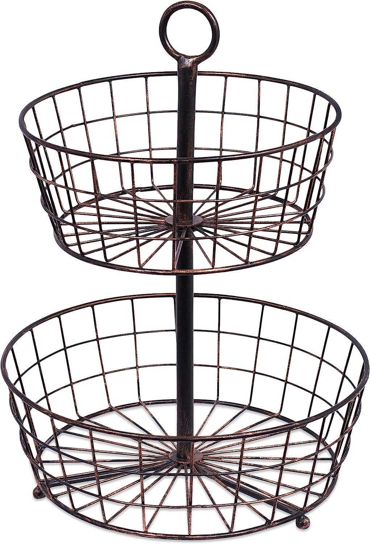 BirdRock Home 2 Tier Wire Fruit Basket - Round Metal Standing Baskets - Fruit Vegetable Garlic Caddy - Freestanding Rustic Decorative Basket