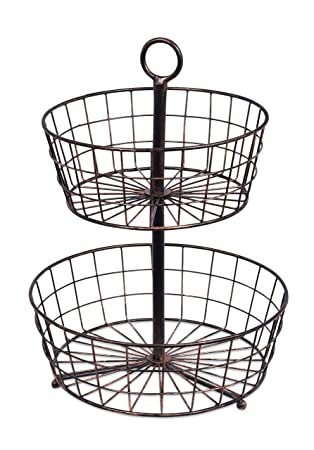 BirdRock Home 2 Tier Wire Fruit Basket | Round Metal Standing Baskets | Fruit  Vegetable Garlic