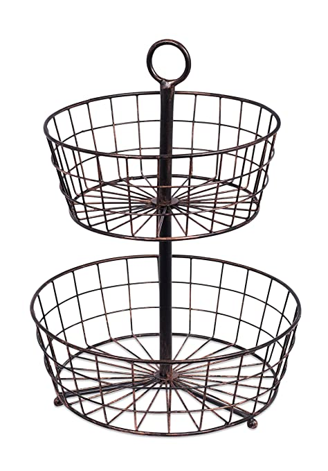 Merveilleux Amazon.com: BirdRock Home 2 Tier Wire Fruit Basket | Round Metal Standing  Baskets | Fruit Vegetable Garlic Caddy | Freestanding Rustic Decorative  Basket: ...