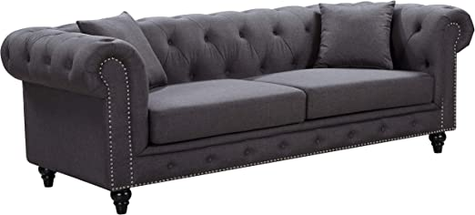 Amazon.com: Meridian Muebles 662-s Chesterfield sofá ...