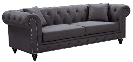 Fantastic Meridian Furniture Chesterfield Sofa Grey Pdpeps Interior Chair Design Pdpepsorg