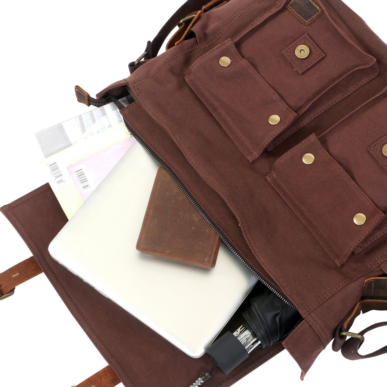 7dff81d0bcca Lifewit 15.6-17.3 Mens Messenger Bag Vintage Canvas Leather Military  Shoulder Laptop Bags LF210809GY