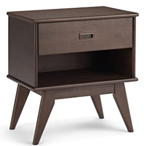 Simpli Home AXCDRP-BS-WB Draper Solid Hardwood 24 inch wide Mid Century Modern Bedside Nightstand Table in Walnut Brown