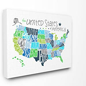 The Stupell Home Decor Collection United States Map Colored Typography Stretched Canvas Wall Art, 24 x 30, Multicolor