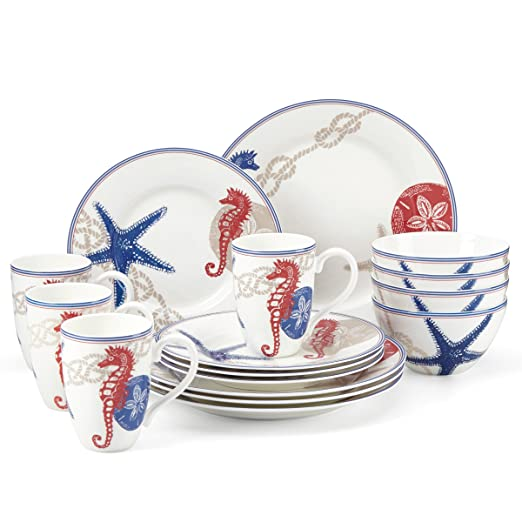 Christmas Tablescape Decor - Oceanside 16-Pc Fine Porcelain Dinnerware Set by Lenox China