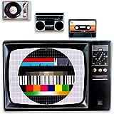 Kunststoff Tischsets Untersetzer im Retro 80er Style im 4er SET als Kasette, Testbild, Plattenspieler und Getthoblaster