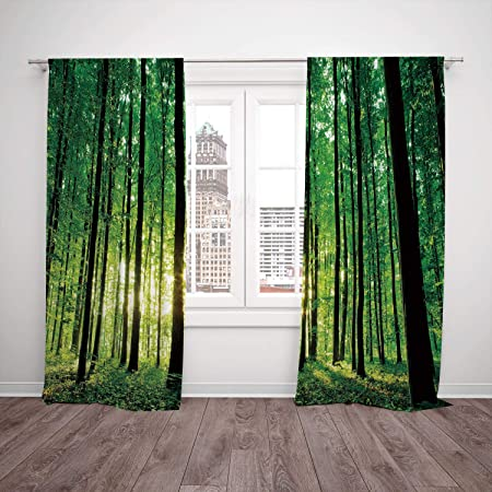 Brilliant Thermal Insulated Blackout Window Curtain Forest Green Home Interior And Landscaping Spoatsignezvosmurscom