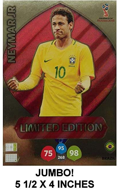 d87d49281 Image Unavailable. Image not available for. Color: NEYMAR JR. Jumbo XXL  Limited Edition Panini 2018 WORLD CUP RUSSIA Adrenalyn XL Soccer Card