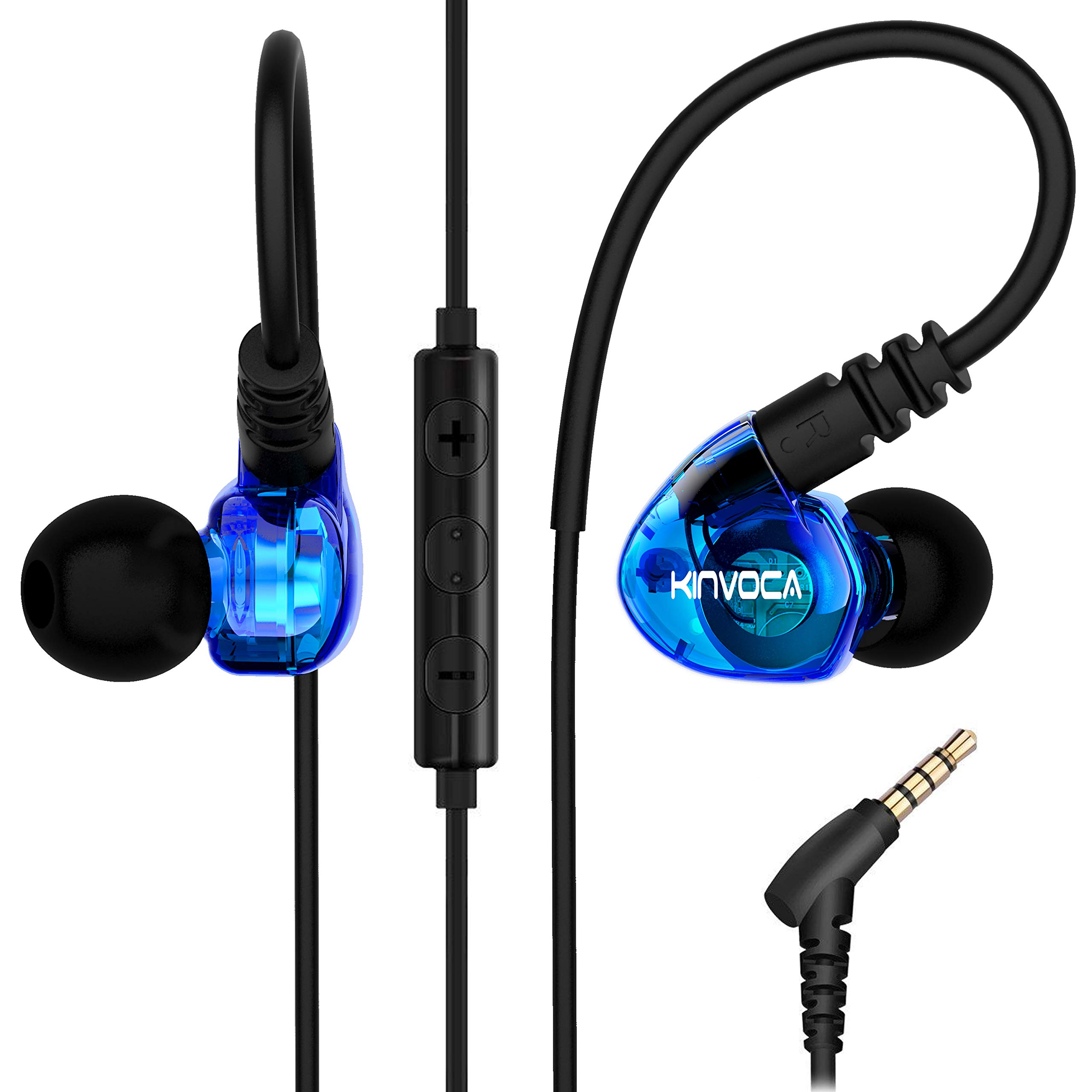 KINVOCA Running Earbuds Over Ear Buds Microphone Volume Control Remote Noise Cancelling Earhook Headphones Sweatproof in Ear Earphones Gym Jogging Workout Exercise Blue